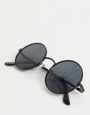 Круглые солнцезащитные очки в черной металлической оправе -Черный New Look