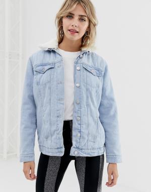 Джинсовая куртка с подкладкой из искусственного меха -Синий New Look