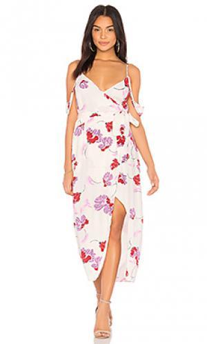 Платье с запахом floral Bardot. Цвет: белый