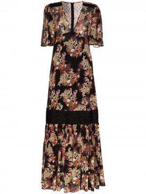 Расклешенное платье с цветочным принтом byTiMo. Цвет: черный