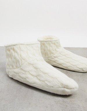 Носки-слиперы с вязкой в косичку на флисовой подкладке кремового цвета -Белый Lindex