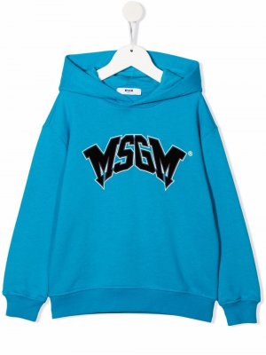 Logo-print pullover hoodie MSGM Kids. Цвет: синий