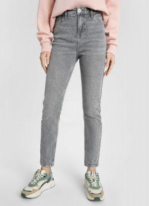 Зауженные джинсы с высокой посадкой O`Stin. Цвет: светло-серый