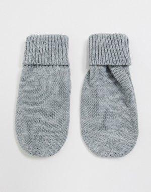 Серые трикотажные перчатки-митенки -Серый French Connection