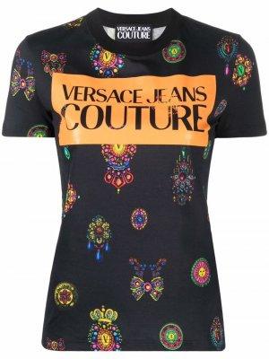 Logo-print short-sleeved T-shirt Versace Jeans Couture. Цвет: черный