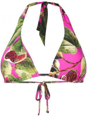 Printed triangle bikini top Dolce & Gabbana. Цвет: розовый