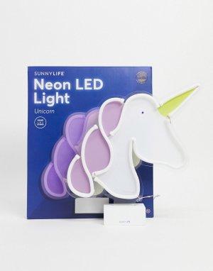 Неоновый светильник в виде единорога -Белый Sunnylife