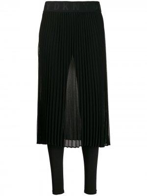 Прозрачная юбка с плиссировкой DKNY. Цвет: черный