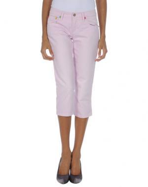 Джинсовые брюки-капри FRANKIE MORELLO. Цвет: светло-розовый
