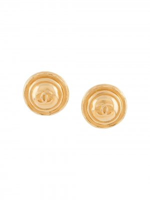 1980s oversized CC clip-on earrings Chanel Pre-Owned. Цвет: золотистый