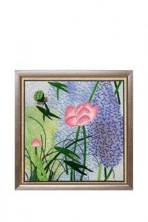 Картина Горные маки Живой шелк. Цвет: фиолетовый, зеленый, розовый