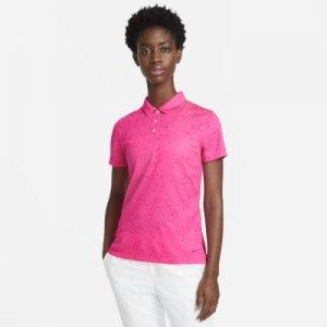 Женская рубашка-поло с коротким рукавом и принтом для гольфа Nike Dri-FIT - Розовый