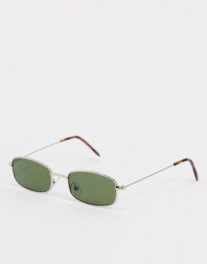 Прямоугольные солнцезащитные очки в серебристой оправе -Серебряный River Island