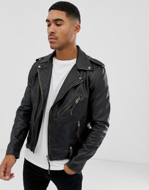 Кожаная байкерская куртка -Черный Bolongaro Trevor
