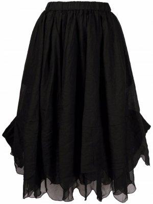 Юбка миди с многослойным подолом Comme Des Garçons. Цвет: черный