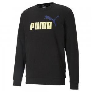 Толстовка Essentials+ Two-Tone Big Logo Crew Neck Mens Sweater PUMA. Цвет: черный