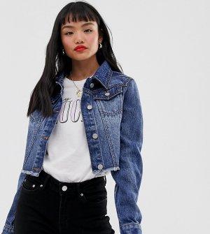 Укороченная джинсовая куртка с потертостями -Синий Brave Soul Petite
