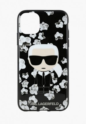 Чехол для iPhone Karl Lagerfeld 11, TPU Collection Flower Hard Black. Цвет: черный