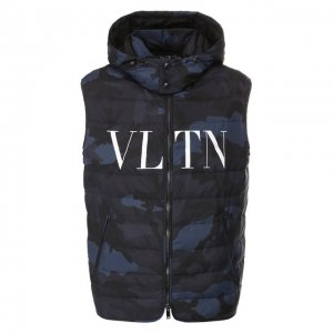 Пуховый жилет Valentino. Цвет: синий