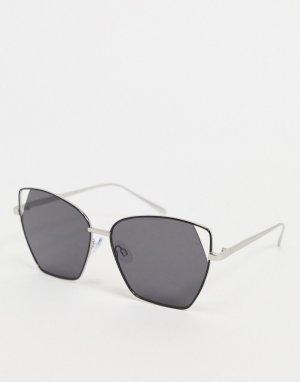 Солнцезащитные очки в крупной оправе с металлической отделкой -Черный цвет AJ Morgan