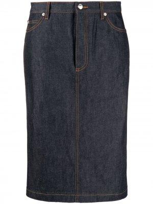 Джинсовая юбка с молнией A.P.C.. Цвет: синий