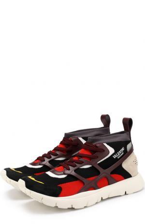 Комбинированные кроссовки Garavani Sound High на шнуровке Valentino. Цвет: разноцветный