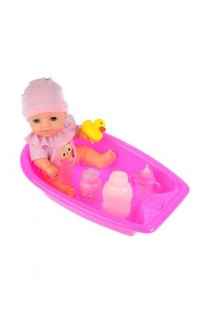 Пупс в ванне с аксессуарами Карапуз. Цвет: розовый