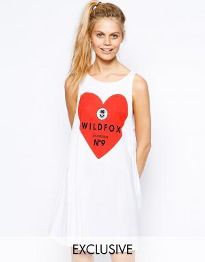 Платье-майка с сердцем и логотипом Wildfox. Цвет: белый
