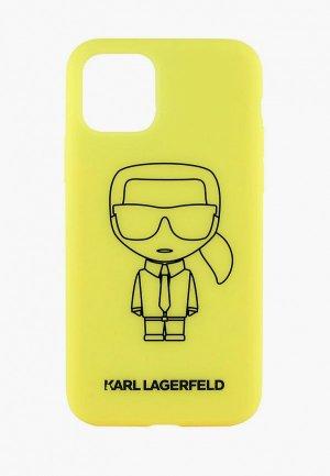Чехол для iPhone Karl Lagerfeld 11 Pro, Liquid silicone Ikonik outlines Yellow/Black. Цвет: желтый