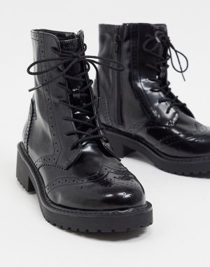 Черные броги со шнуровкой -Черный цвет London Rebel