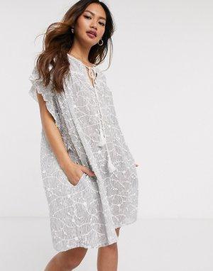 Свободное платье с принтом -Синий Deby Debo