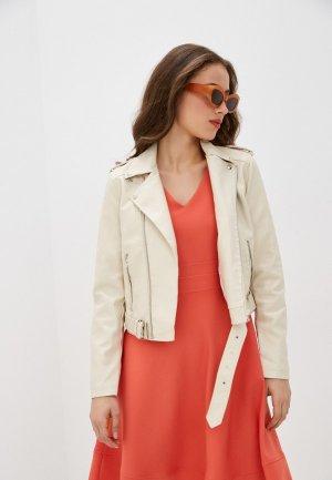 Куртка кожаная Euros Style. Цвет: бежевый