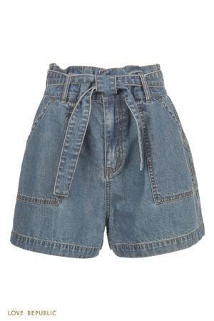 Джинсовые шорты мини с накладными карманами и поясом LOVE REPUBLIC