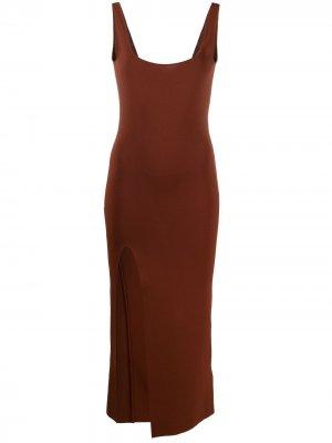 Платье с квадратным вырезом Drome. Цвет: коричневый