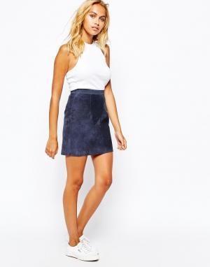 Замшевая мини-юбка American Apparel. Цвет: темно-синий
