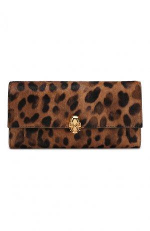 Кожаный кошелек на цепочке Alexander McQueen. Цвет: леопардовый
