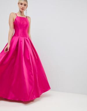 Платье макси для выпускного с квадратным вырезом -Розовый Jovani