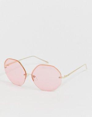 Большие розовые круглые солнцезащитные очки без оправы AJ Morgan. Цвет: розовый
