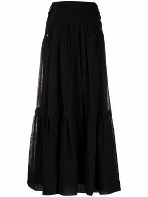 Расклешенная юбка макси Alberta Ferretti. Цвет: черный