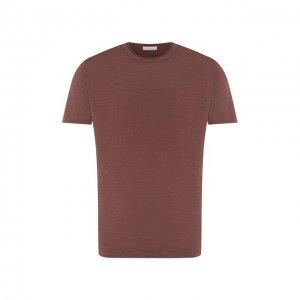 Льняная футболка Cortigiani. Цвет: коричневый