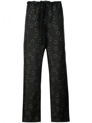Широкие брюки с рисунком Ann Demeulemeester. Цвет: черный