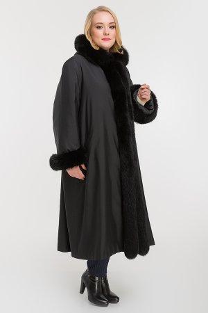 Женское пальто на меху для зимы большой размер Rolf Schulte. Цвет: черный