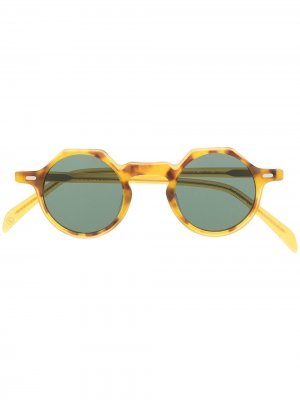 Солнцезащитные очки Yoga в круглой оправе Lesca. Цвет: желтый