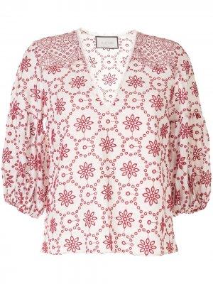 Блузка с люверсами Alexis. Цвет: белый