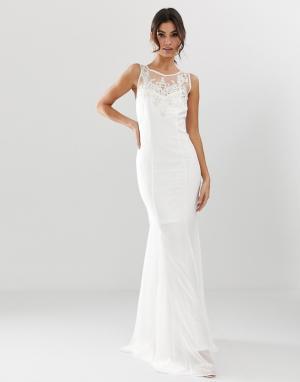Свадебное платье макси с подолом годе и декоративной отделкой -Белый City Goddess