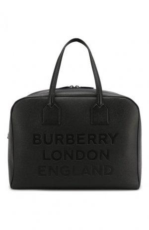 Кожаная дорожная сумка Burberry. Цвет: черный