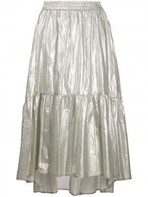 Ярусная юбка из ткани ламе 8pm. Цвет: золотистый