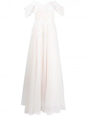 Свадебное платье Pierce с цветочной вышивкой Tadashi Shoji. Цвет: белый