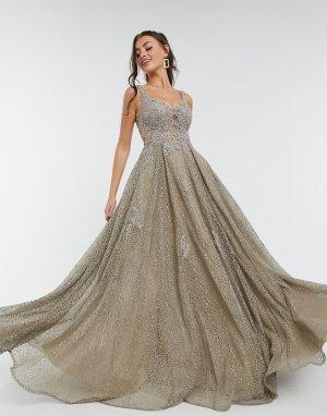 Короткое приталенное платье серо-коричневого цвета с отделкой -Коричневый цвет Jovani