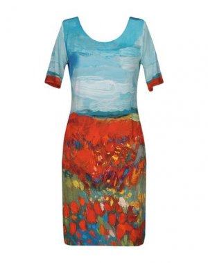 Короткое платье ANGELO MARANI. Цвет: небесно-голубой